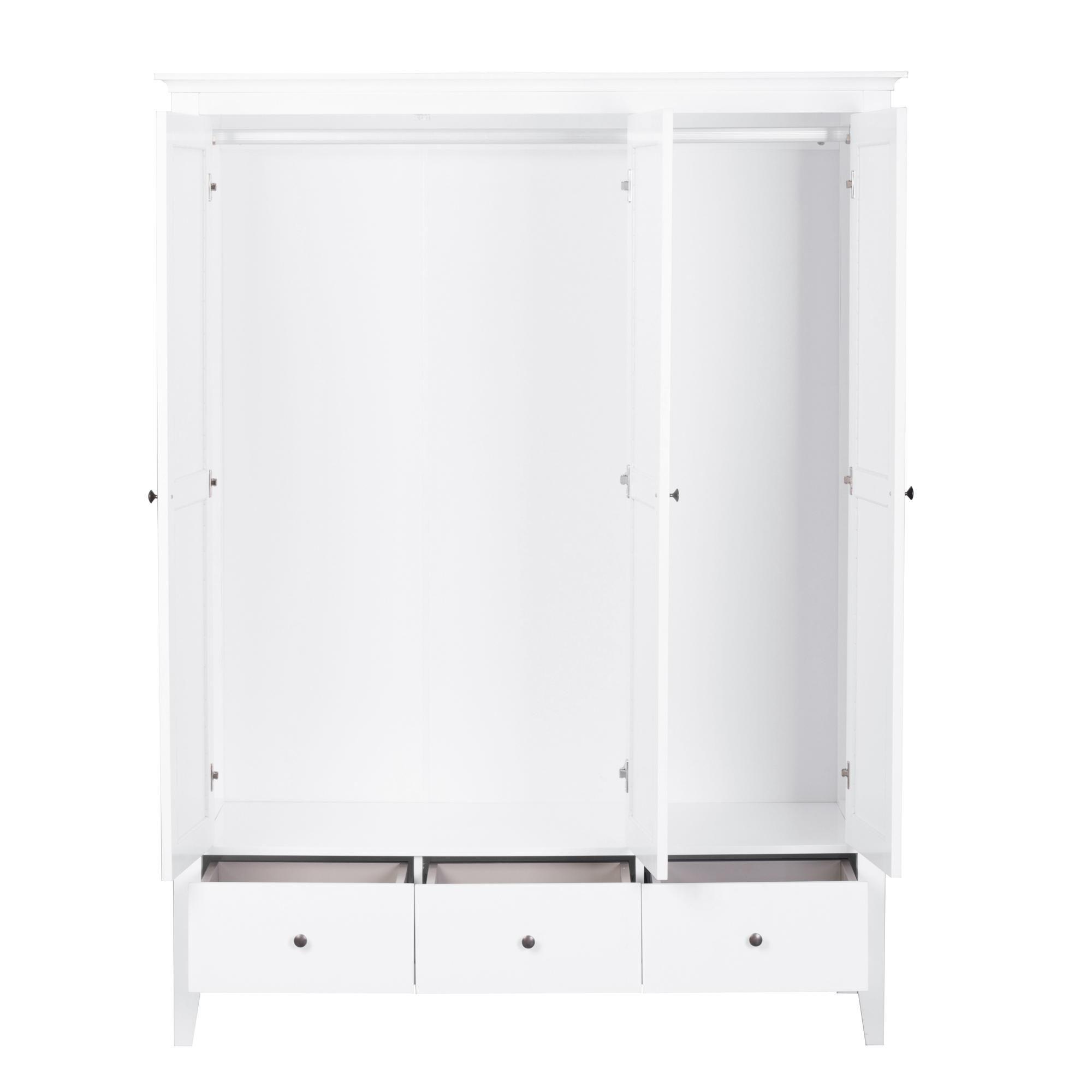 Lynton White Triple Wardrobe In 2020 Triple Wardrobe Tall Cabinet Storage Hanging Rail