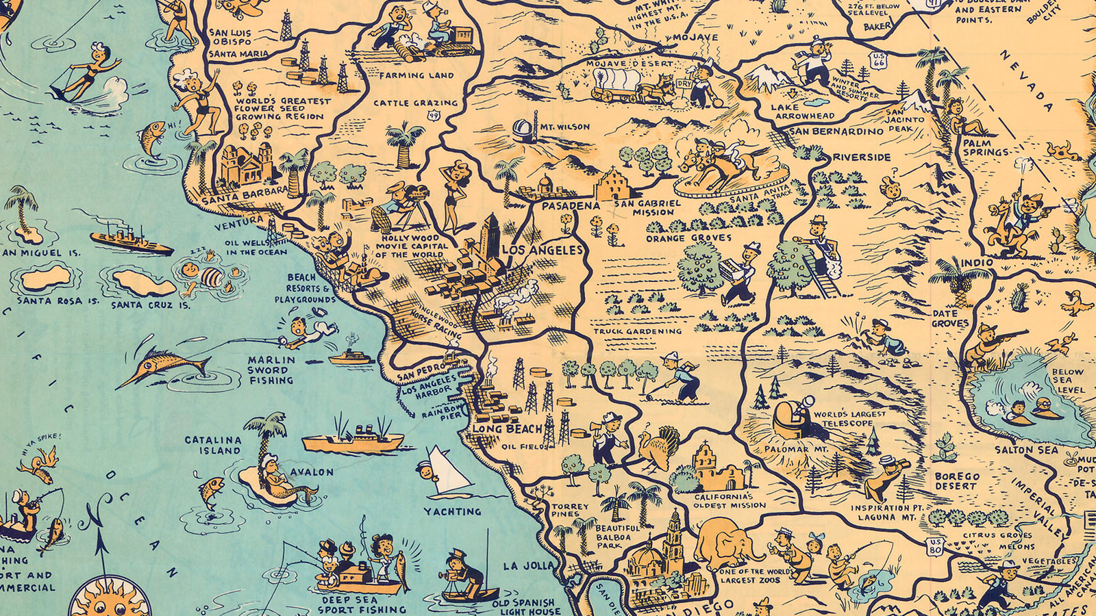 The Golden State Of California - Goaltaca california the golden state illustrated map by lowell e jones