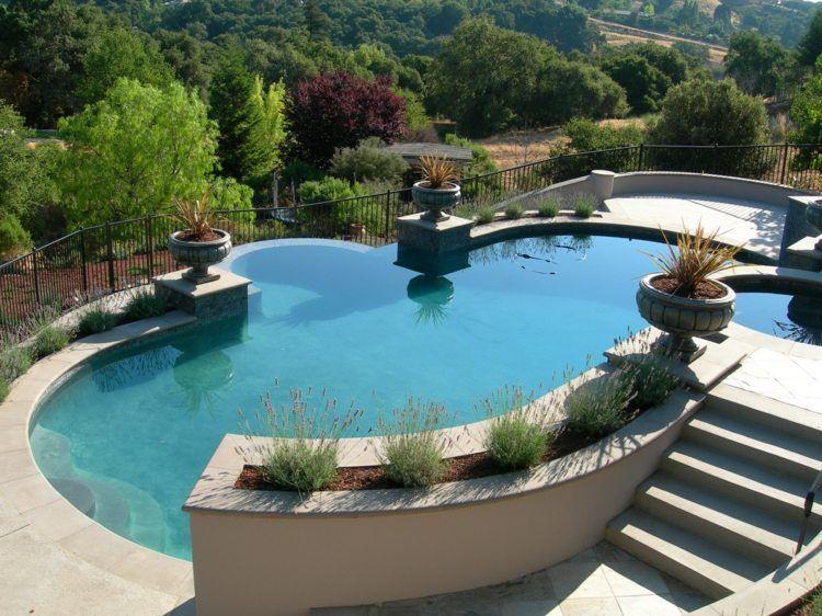 gartenideen mit steinen terrasse mit sandsteinplatten verlegt - Garten Ideen Mit Pool