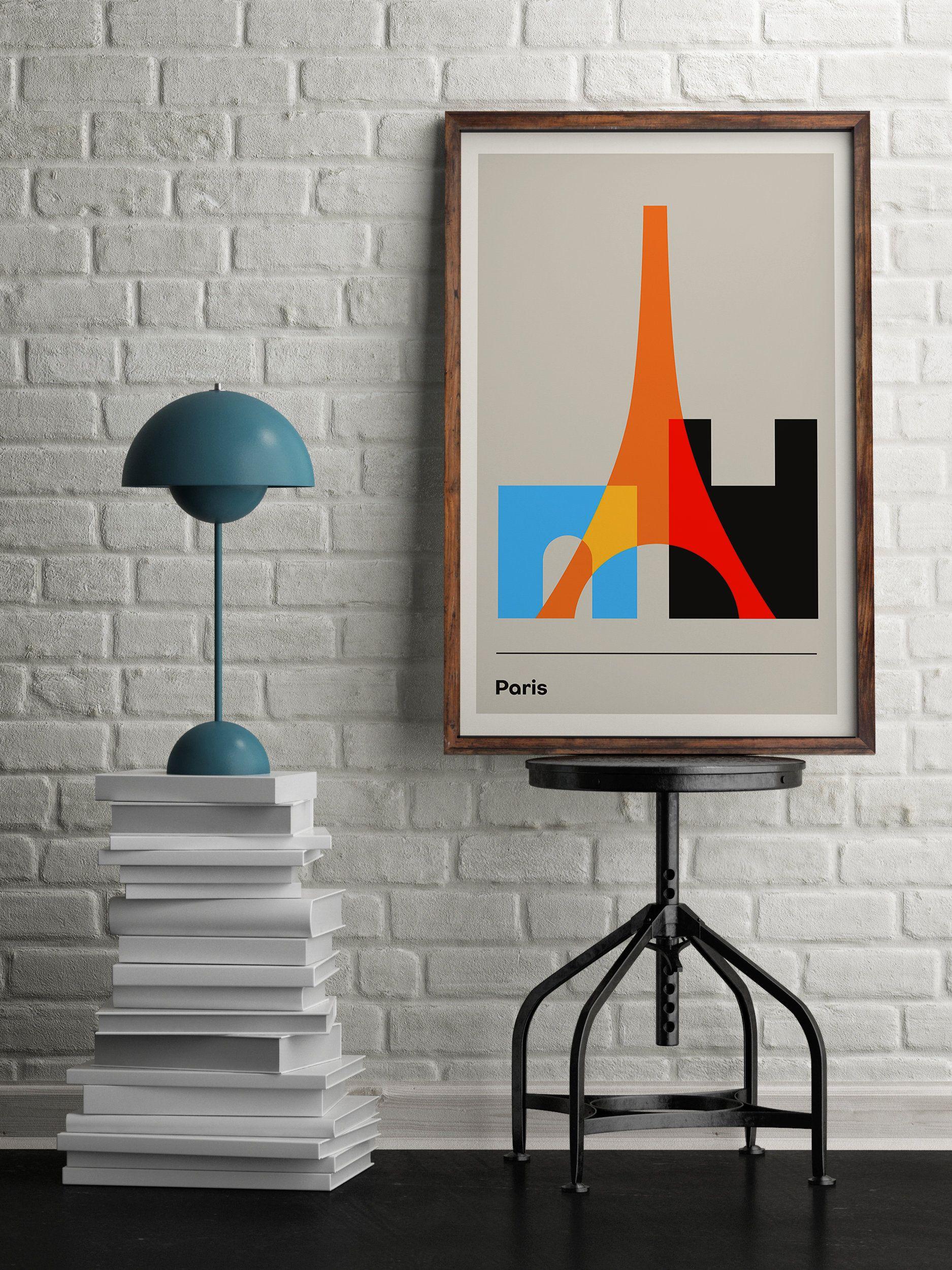 Paris Travel Poster Eiffel Tower Geometric Poster Minimalist Poster Retro Travel Map Travel Wall Art Large Poster Printed Art