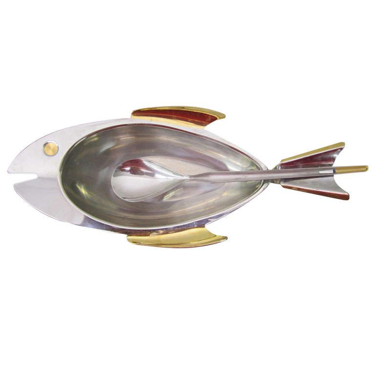 Fantastic fish shaped stainless steel and brass candy dish for Fish shaped plates