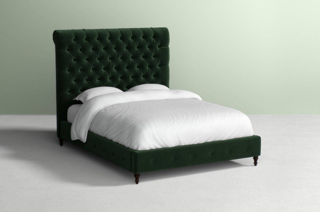 Arianna bed in forest green velvet with wood in hickory the