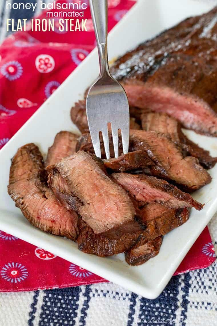 Honey Balsamic Marinated Flat Iron Steak - an easy marinade recipe made with five basic pantry ingredients plus salt and pepper adds tons of flavor and ensures your grilled steak is juicy and tender, especially when it's the from @certangusbeef.