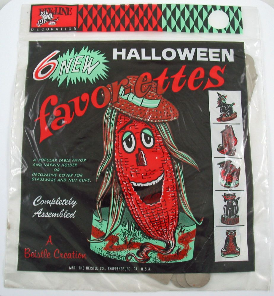 Vintage beistle halloween decorations - Vintage Beistle Halloween Decoration Owl Witch Cat Bat Haunted House Sealed Set