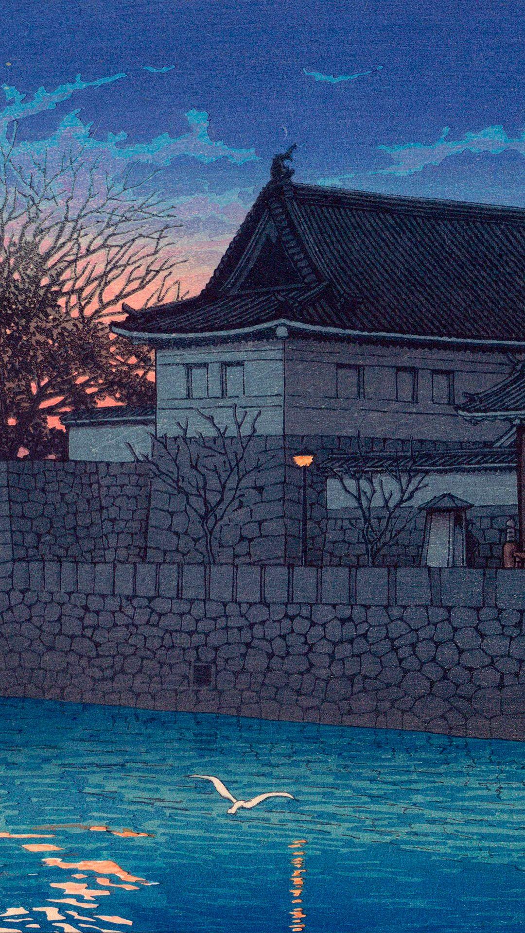 川瀬巴水 東京二十景 平河門 Kawase Hasui Tokyokei Hirakawa Mon 1080 19 壁紙ギャラリー Kagirohi 壁紙アート 川瀬 巴 水 美的芸術