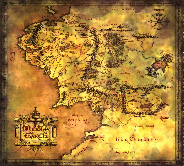 I really, really love this map of middle earth! I love how old it ...