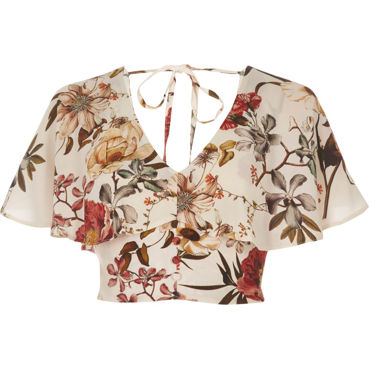 Crepe fabric Floral print Short cap sleeve Frill overlay Button placket Tie back detail Cropped length Loose fit V neck Our model wears a UK 8 and is 175cm/5'9'' tall