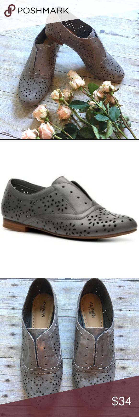736e626ba5174 Crown Vintage Alexis Oxfords Slip-on oxfords featuring perforated gray  leather and elastic band for a comfortable fit. Leather upper. Manmade  balance.