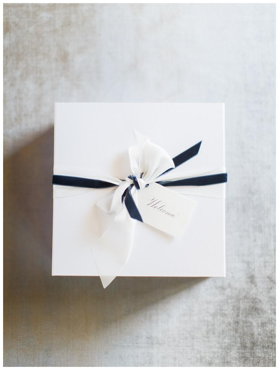 Welcome box with navy blue velvet ribbon detail by A Signature ...