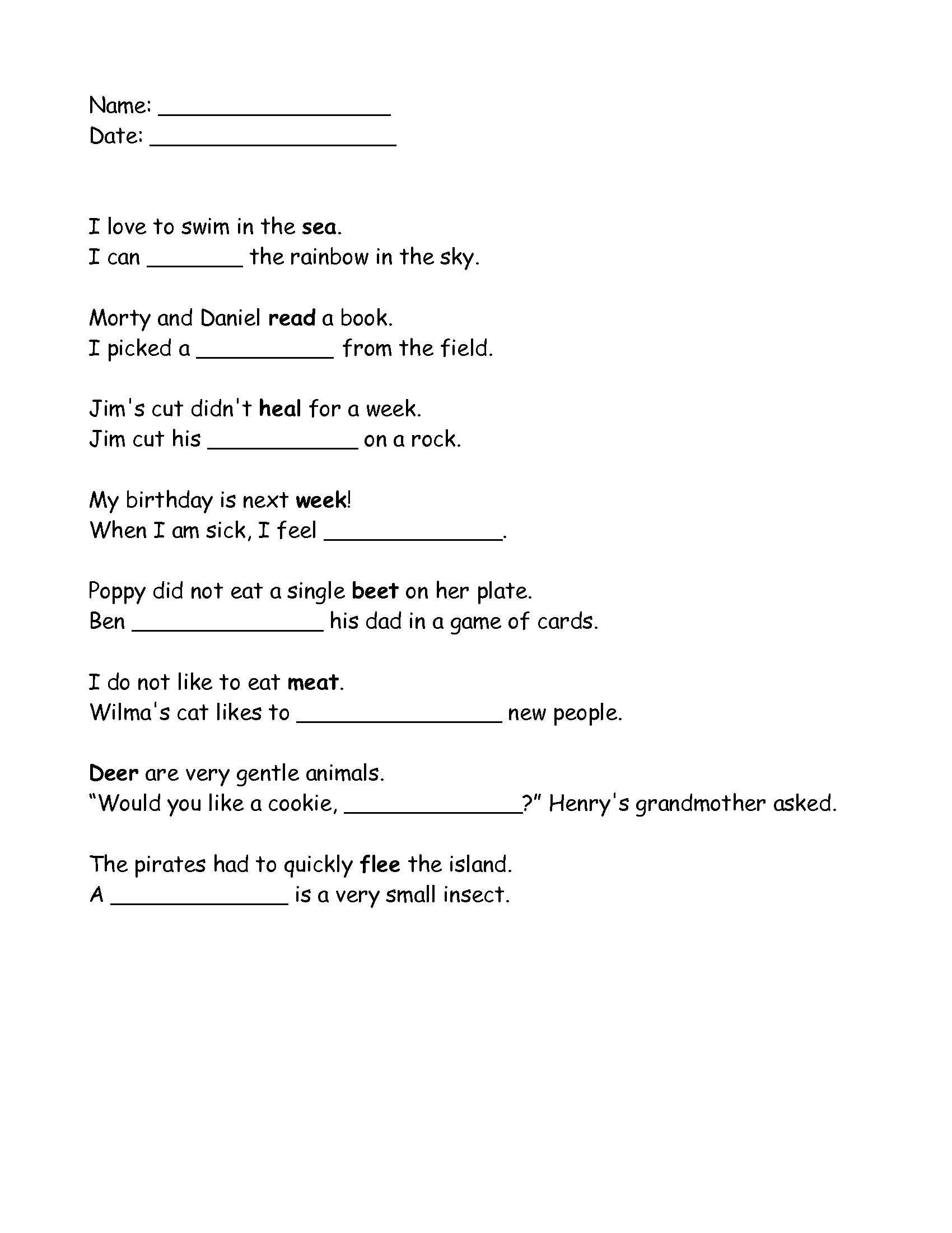 Grade 2 Homophones Ee And Ea Worksheet That I Made Click On Image