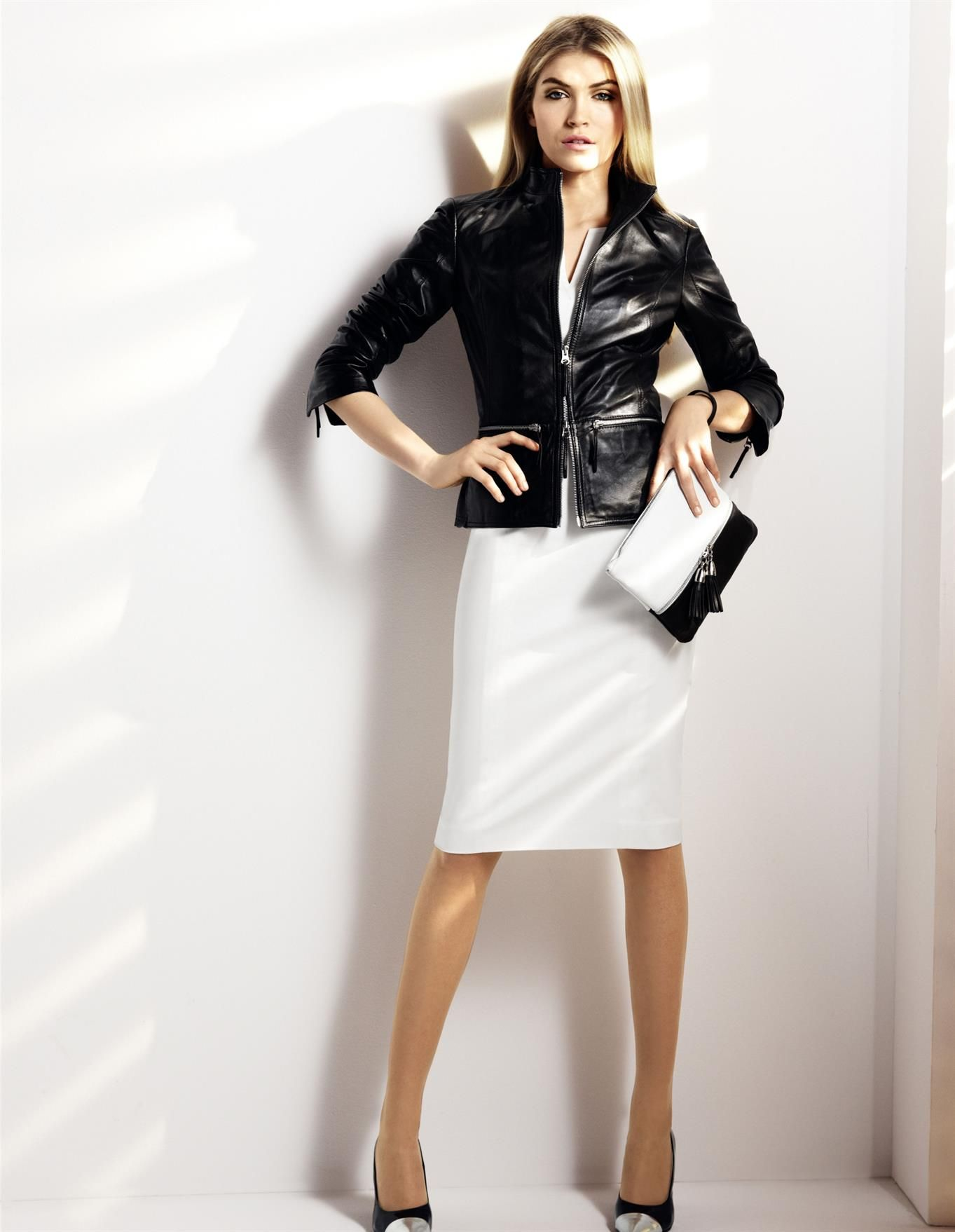 MADELEINE - Kleid, Lederjacke. Lammnappa, Tasche, Pumps  Mode