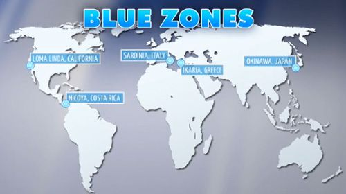 Blue Zones Map show on a map the 5 blue zones   Google Search | BLUE ZONE & MIND
