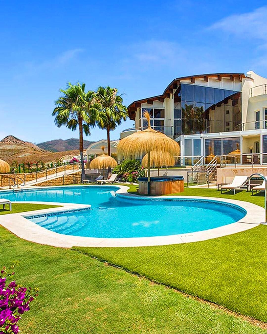 Amenities on hand at Villa El Cid in #Spain are extensive and include generous heated outdoor AND indoor swimming pools three hot tubs (including one on the roof top - yes!) and sauna. This TripAdvisor Vacation Rental sleeps 20 so start tagging your squad  and then book it!