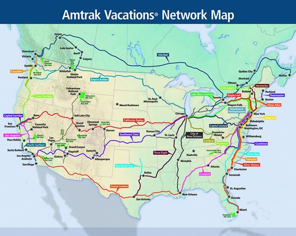 united states amtrak map Amtrak Vacations Network Map | Train travel usa, Train vacations