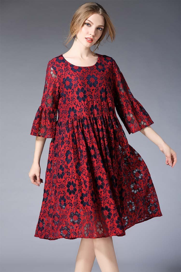 Red lace dress plus size  Plus size  sleeve embroidery lace hollow dress  Pinterest  Lace