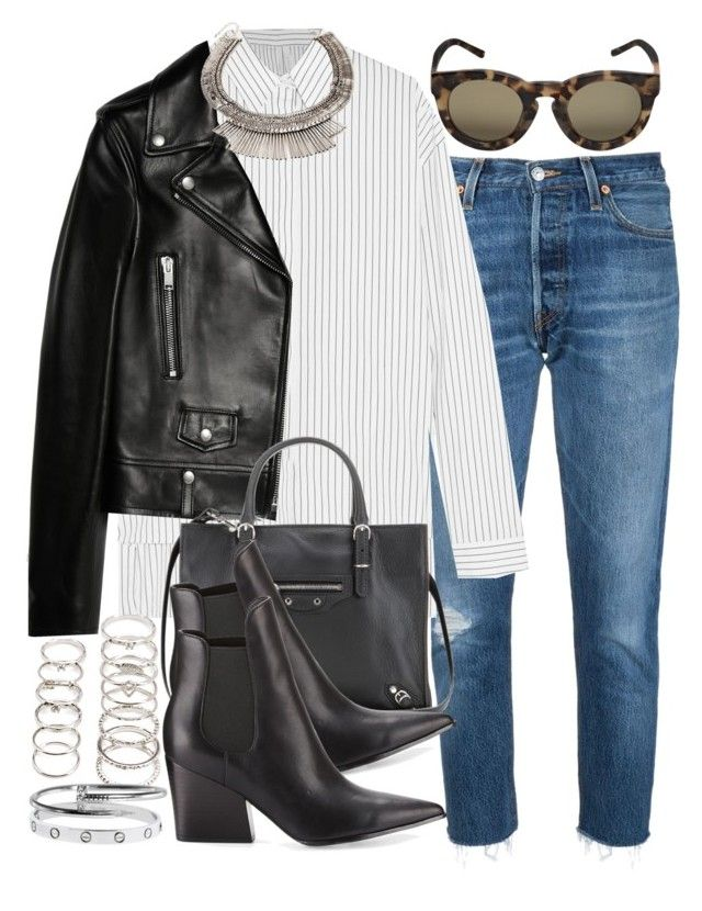 """Sin título #4038"" by hellomissapple ❤ liked on Polyvore featuring RE/DONE, Dion Lee, Yves Saint Laurent, Forever 21, Linda Farrow, Balenciaga, Kendall + Kylie and Cartier"