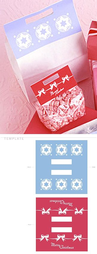 Template for Holiday Handles for closing paper and cello bags. Free PDF Printable template via Martha Stewart.