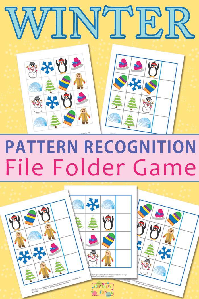 Printable Worksheets pattern recognition worksheets : Winter Pattern Recognition File Folder Game | Pattern recognition ...