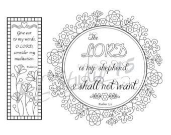 Bible Verse Coloring Bookmarks4 Instant Download By KLstudio15