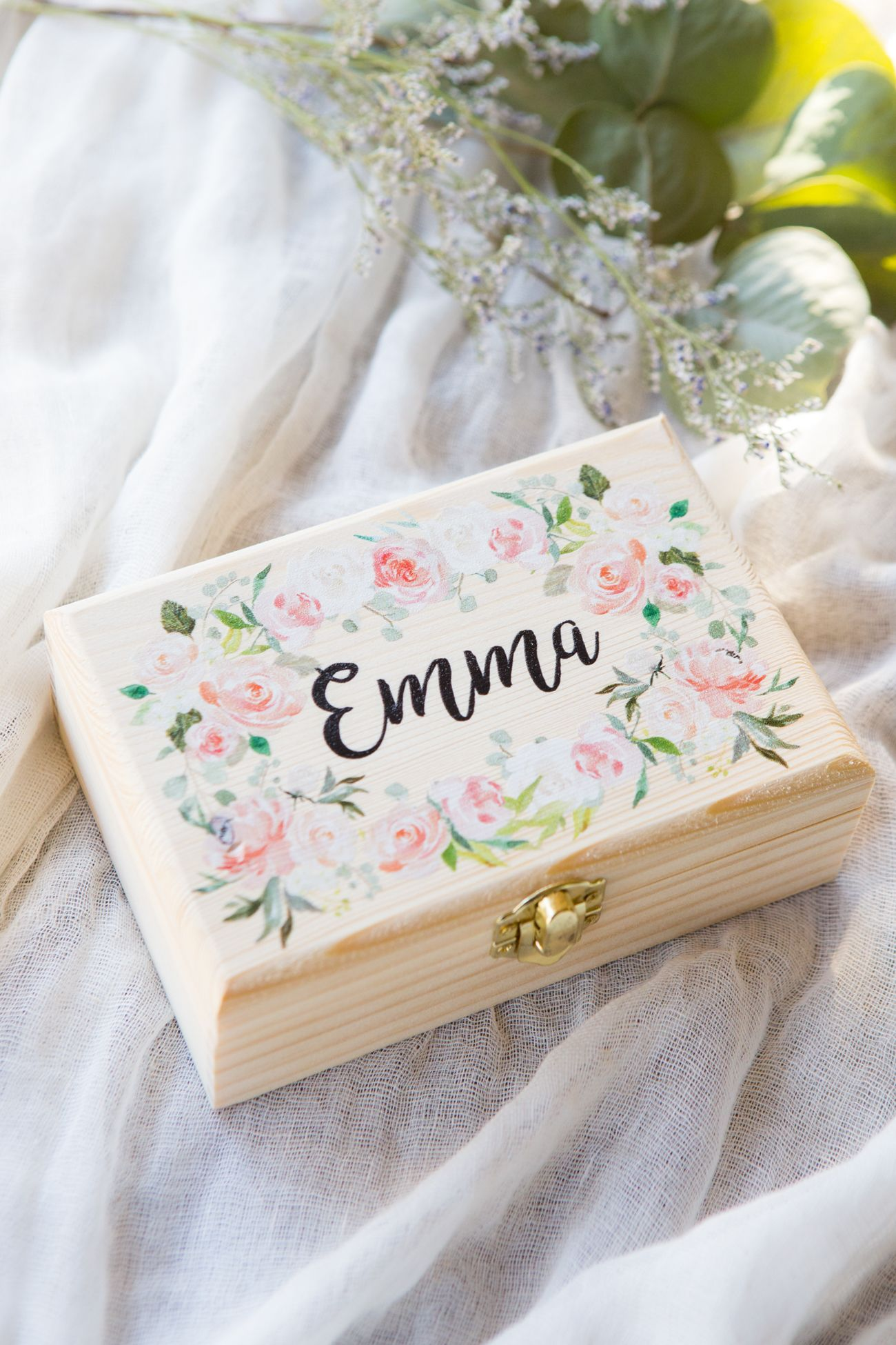 Flower Girl or Bridesmaids Gift Box Jewelry Box Personalized Name ...