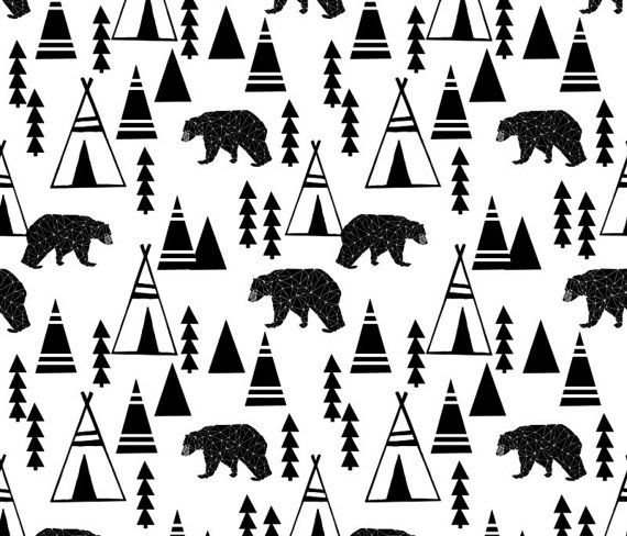 Teepee Forest Bear Quilting Fabric. Fabric by by