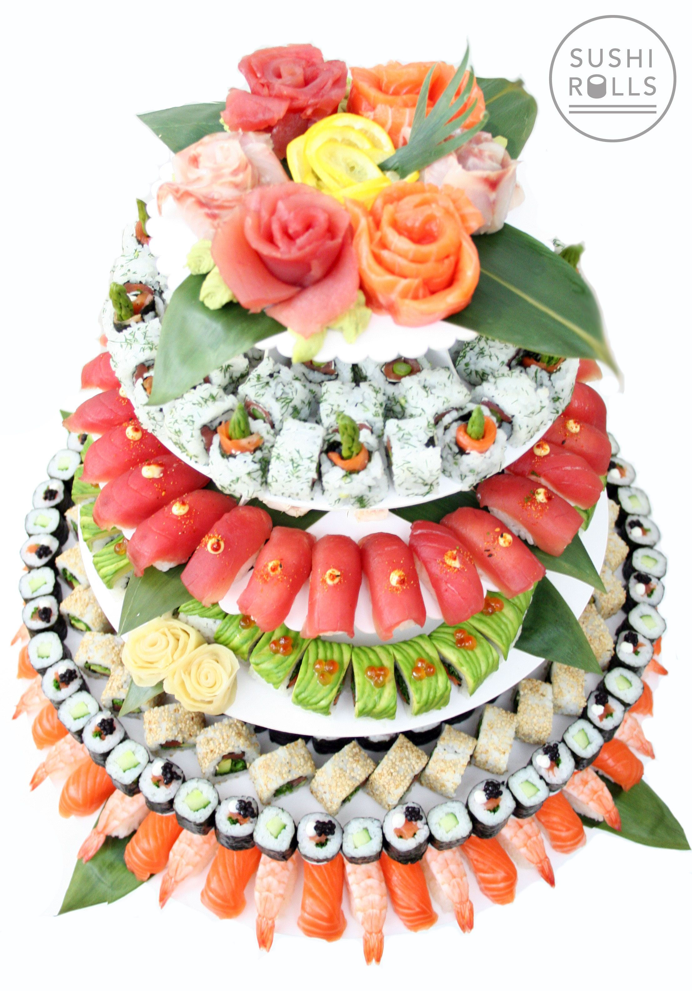 Sushi Wedding Cake from sushirolls.co.uk. A sushi catering