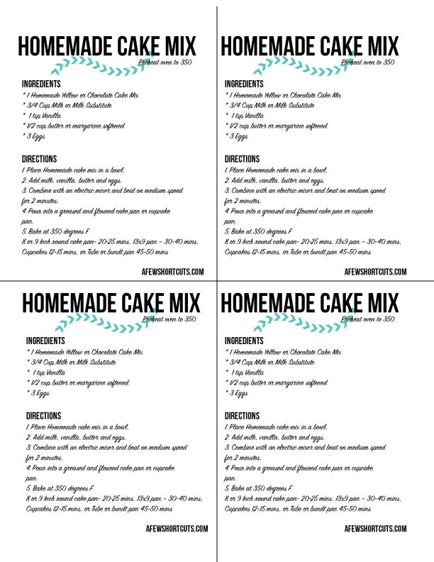Need A Cake Mix But Dont Want To Run To The Store Check Out This Simple Homemade Cake Mix Recipe For Yellow Or Chocolate Cake Plus Free Printable Labels