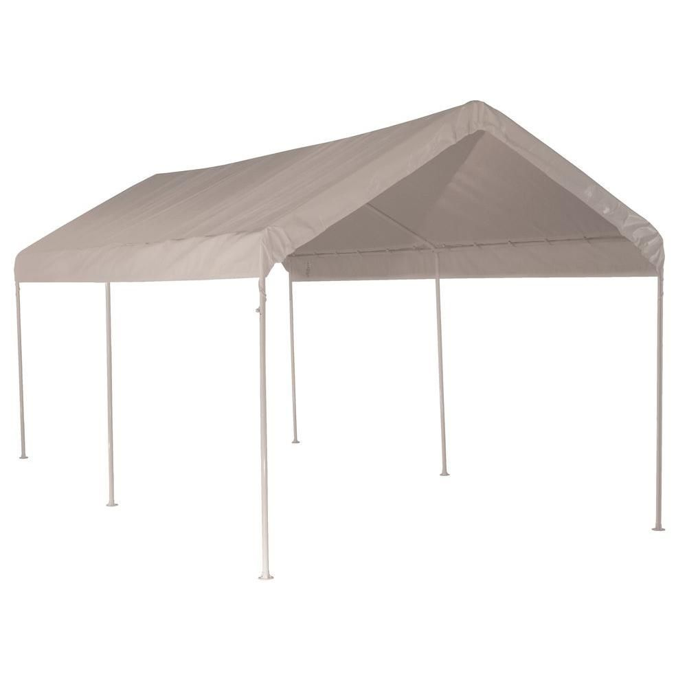 Shelterlogic 10 Ft W X 20 Ft D Max Ap All Purpose 6 Leg Canopy In White With Industrial Grade Slip Fit Steel Frame 25757 The Home Depot Canopy Portable Gazebo Steel Frame