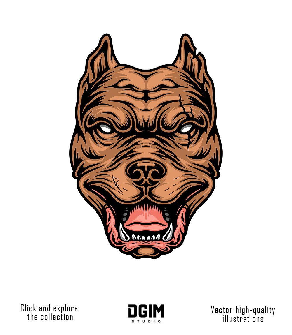 Vintage Pitbull Head Design Graphic Design Studios Pitbull Drawing Logo Design Creative