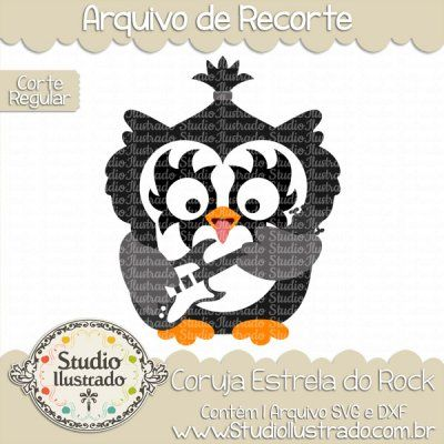 Owl Rock Star, Coruja Estrela do Rock, Kiss, Gene Simmons, Baixo, Bass, Baixista, Banda, Band, Música, Music, Fofo, Cuddly, Fluffy, Cute, Roqueiro, Rock Musician, Som, Sound, Corte Regular, Regular Cut, Silhouette, DXF, SVG, PNG