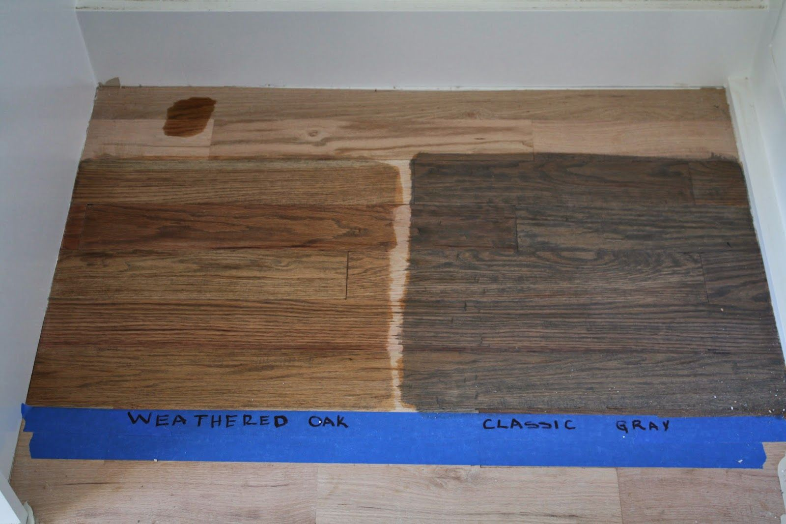 Duraseal weathered oak and classic grey on red oak for Classic wood floors