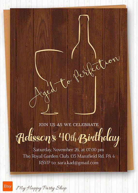 Wine Invitations Aged to Perfection Adult Birthday Wine Tasting