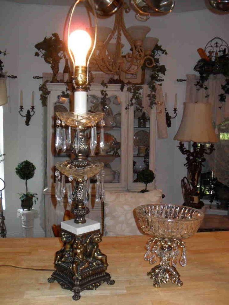 angelcherub 2 tier crystal prism marble brassbronze table lamp mid century vtg