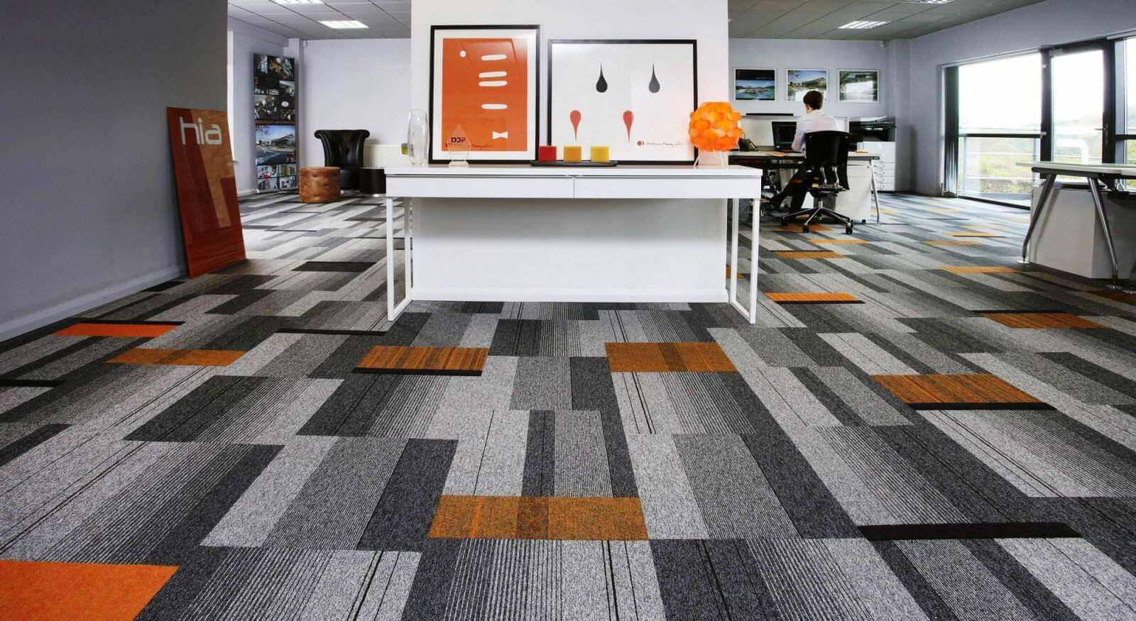 Office floor designs office design ideas pinterest floor burmatex balance atomic carpet tiles with splashes of orange structure bonded ibbotson architects derbyshire dailygadgetfo Choice Image