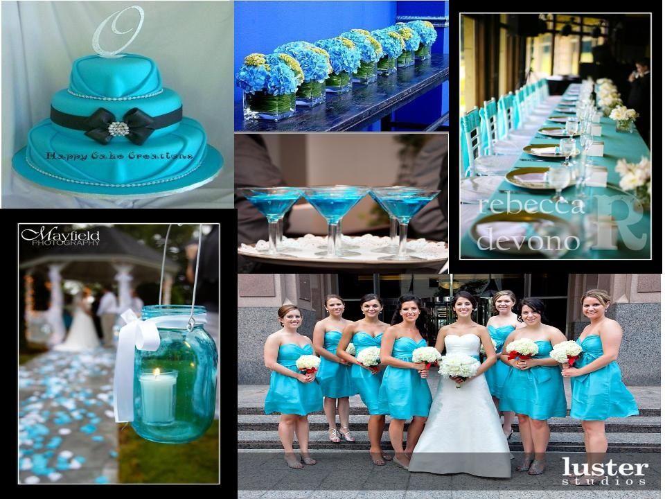 Aqua Blue Wedding Table Setting Bridesmaid Dresses