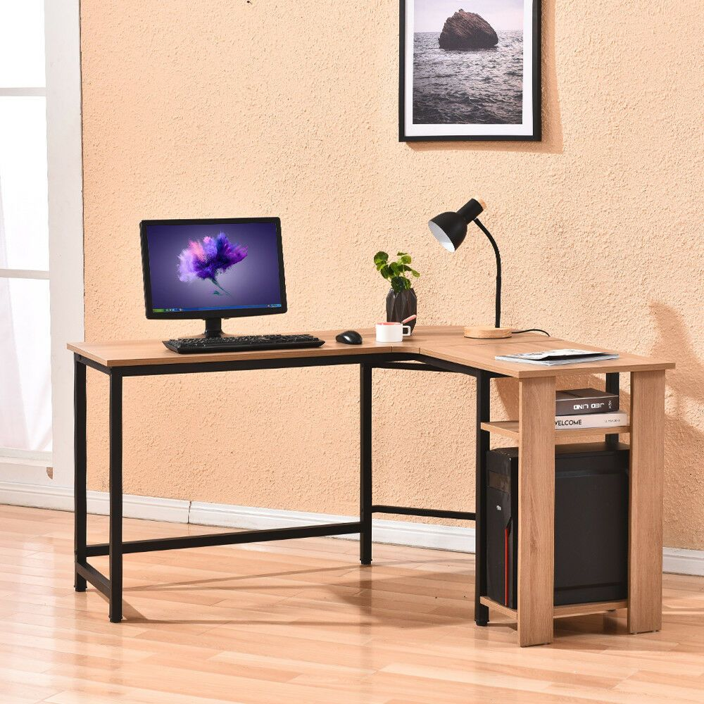 L Shapecorner Computer Laptop Pc Table Home Office Furniture