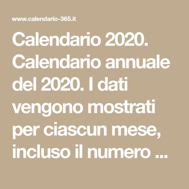 Settimane Calendario 2020.Calendario 2020 Calendario Annuale Del 2020 I Dati Vengono