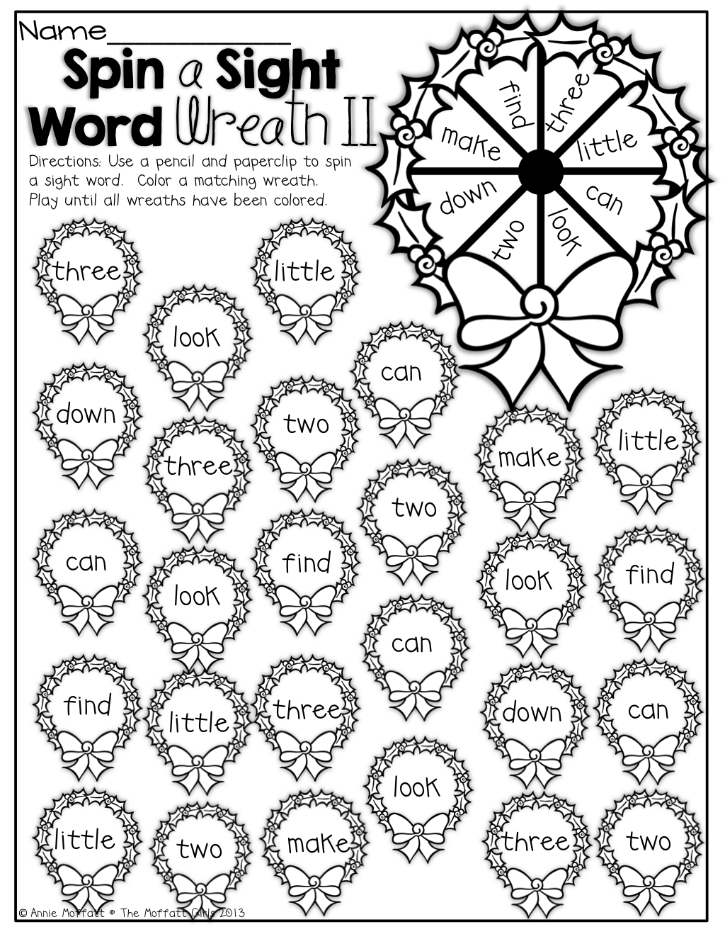 Spin And Color A Sight Word Wreath