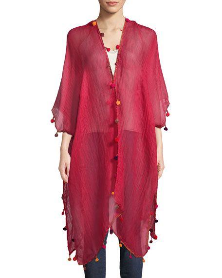 1d0919023a5ba Pompom Crepe Kimono Capes & Ponchos, Caftans, Overlay, Shawls, Cover Up,