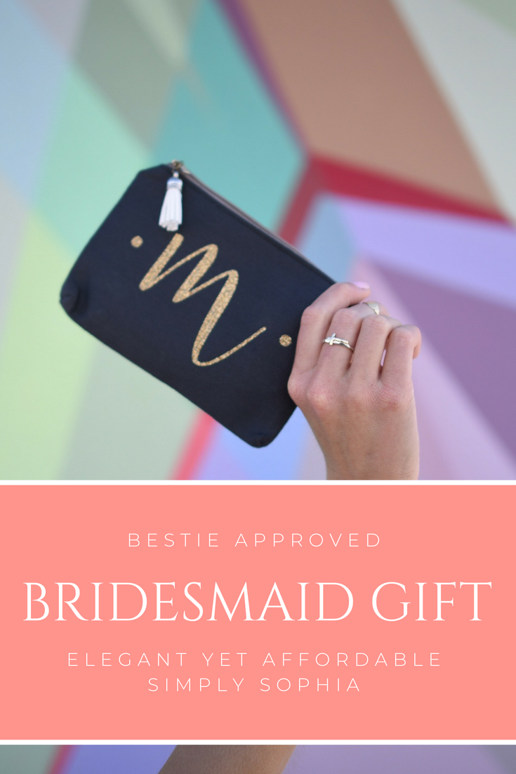 Personalized calligraphy makeup bag Great for bridesmaid