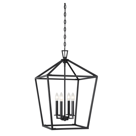 4 Light Rectangle Black Lantern With Clear Glass Lantern Pendant