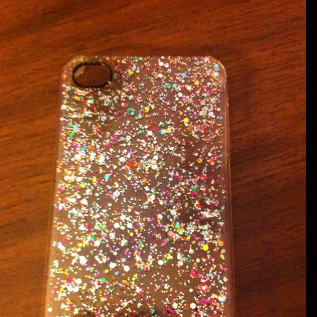 Painted my clear iPhone cover with glitter nail polish. Much cheaper ...