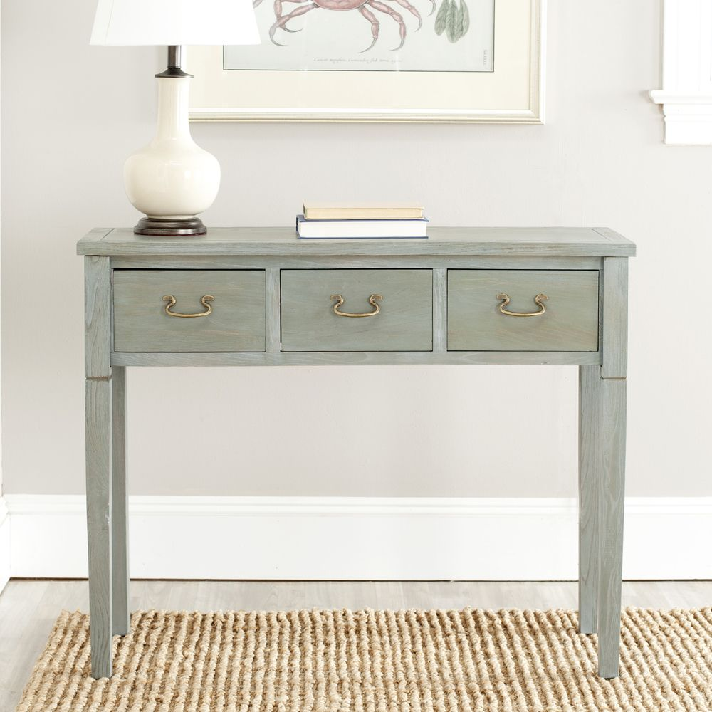 Safavieh Sete 3 Drawer Antiqued Grey Console Table   Overstock™ Shopping    Great Deals On Safavieh Coffee, Sofa U0026 End Tables