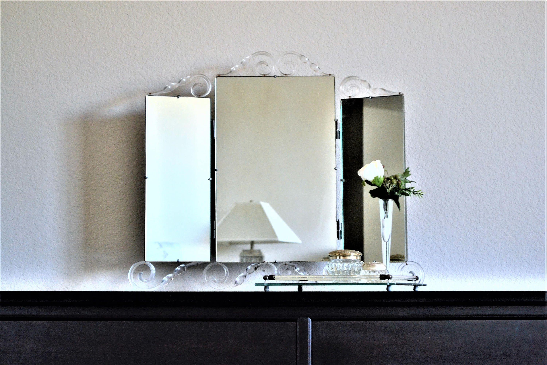 Vintage Vanity Mirror Lucite Mirror Mid Century Modern Tri
