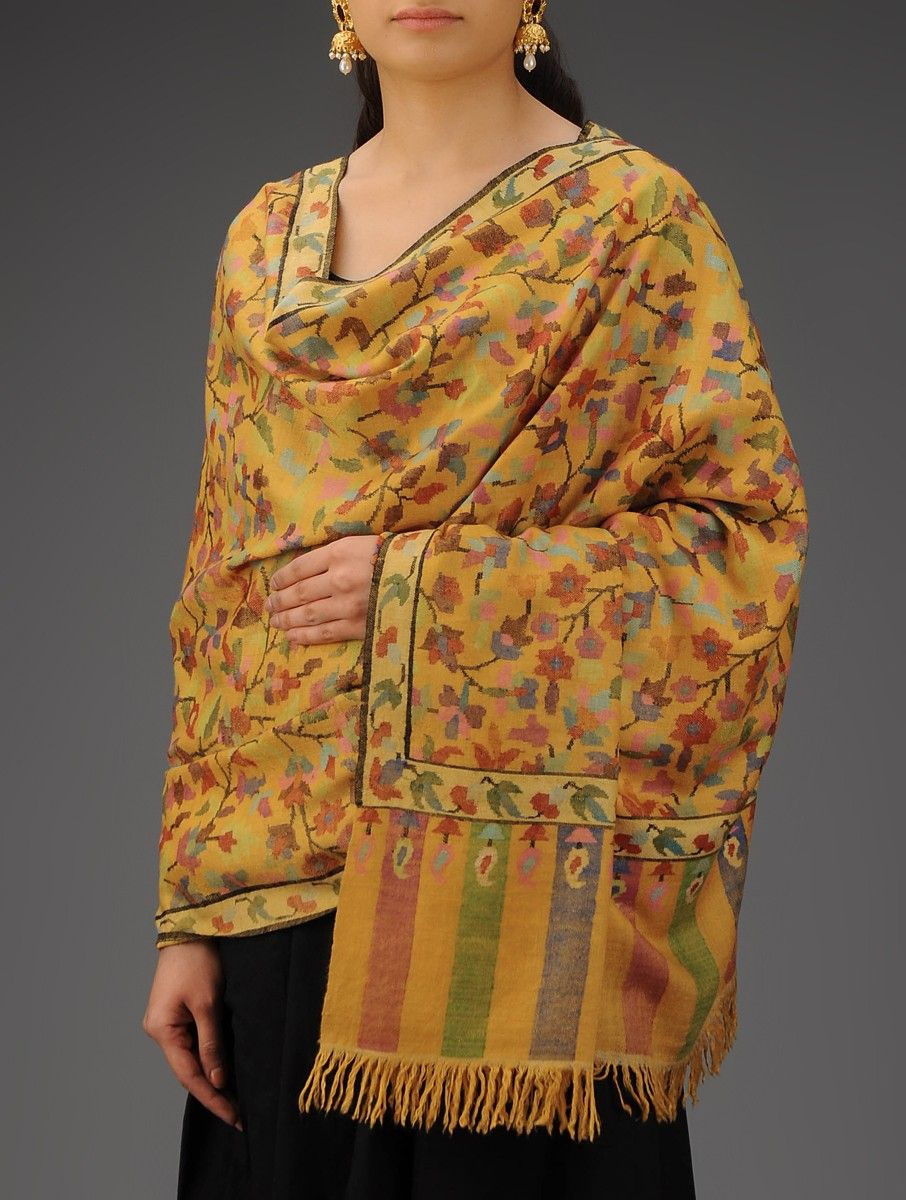 bdc895d9bb Yellow Multi Color Floral Handwoven Handspun Kani Jamawar Pure Pashmina  Shawl Accessories Shawls Kashmiri Threads Hand woven from Kashmir Online at  Jaypore. ...