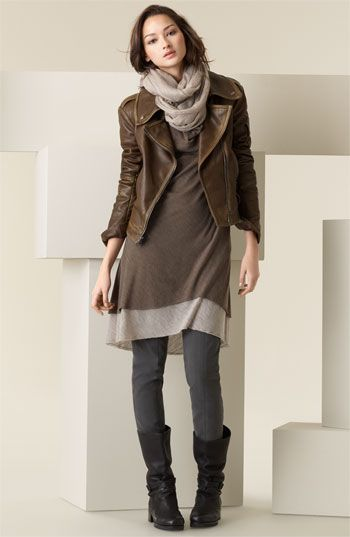 Dress Tights Scarf Mid Calf Boots Leather Jacket Fashion