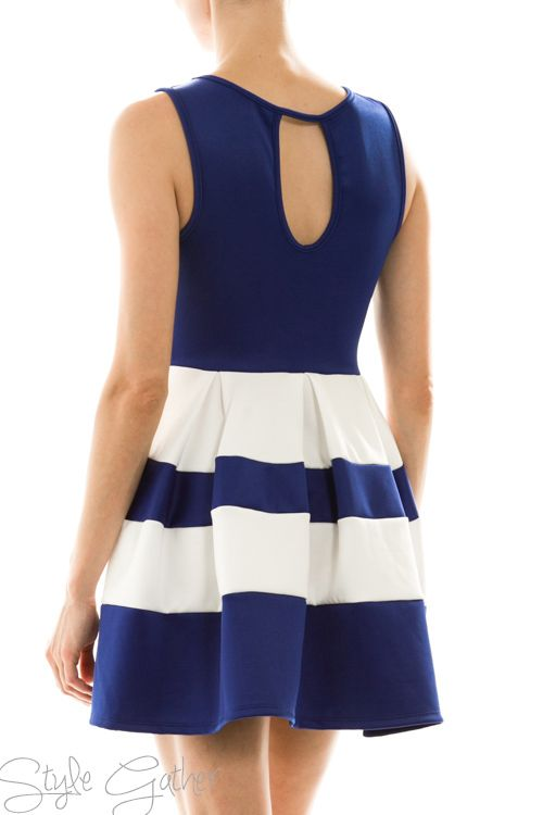 Colorblock Royal Blue and White Dress