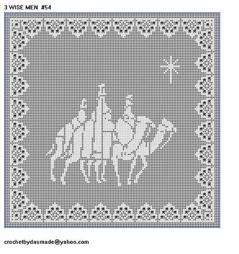 54 Wisemen Filet crochet doily pattern Christmas with border ...