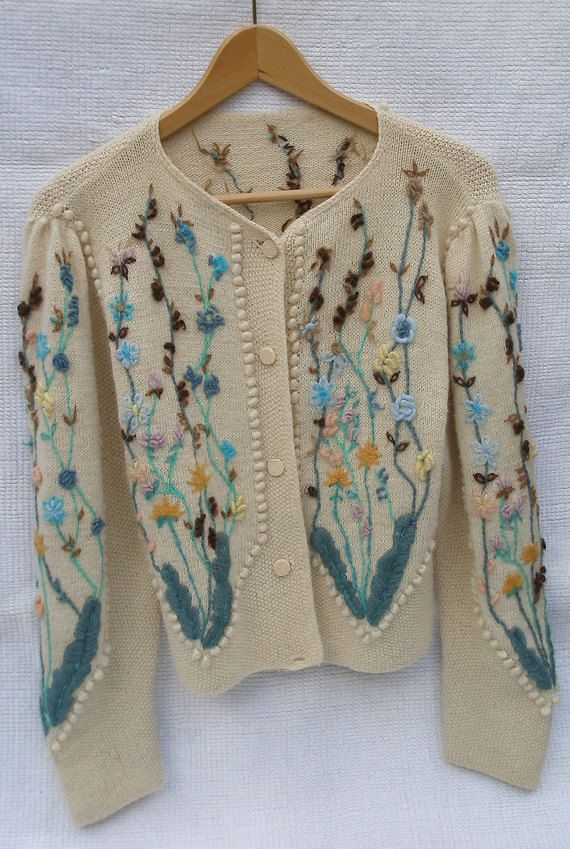 cd2d7a5ccbb8d4 Hand-knitted and embroidered vintage cardigan made in early 1990s ...
