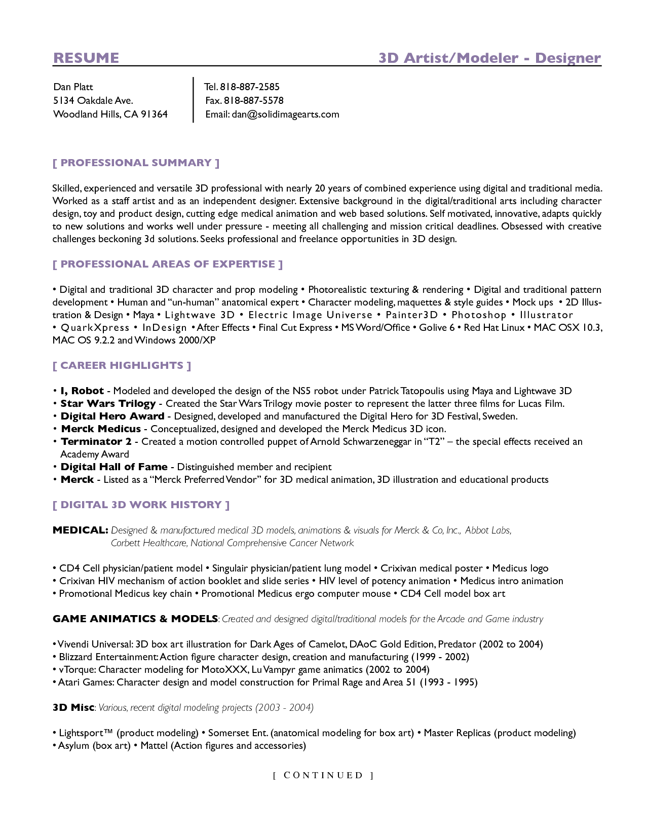 Sample Resume  Sculpting    Sample Resume And Template